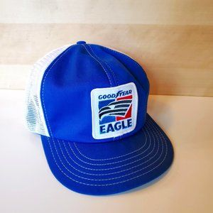 Vintage Goodyear Eagle Patch 70s 80s Trucker Hat Snapback Mesh Blue White